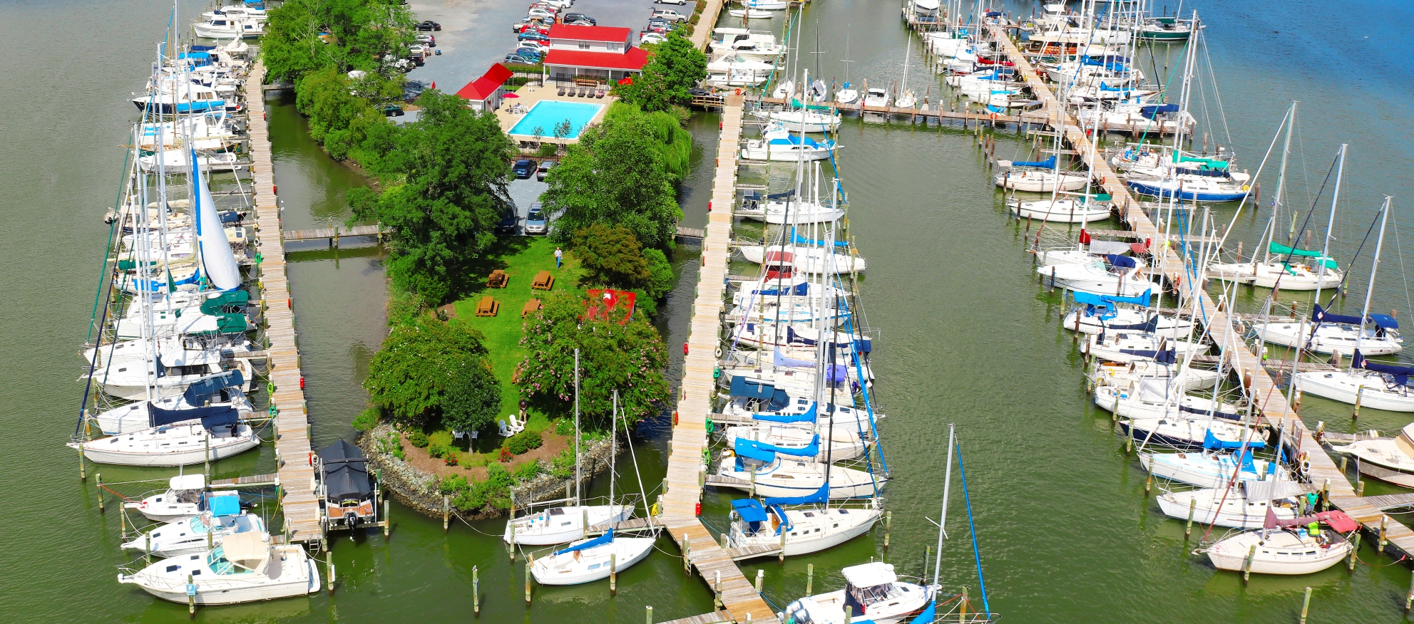 An Aerial view of Shipwright Harbor Marina in Deale, MD on Herring Bay